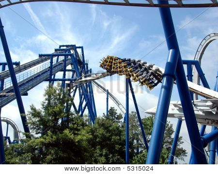 rollercoaster photographed at amusement park in the Carolinas stock photo