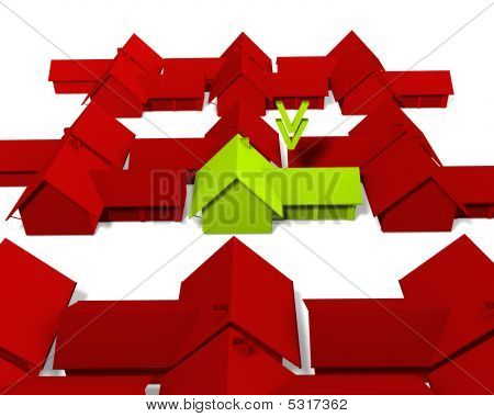 a green house on a white screen (Color can be chance easylie) stock photo