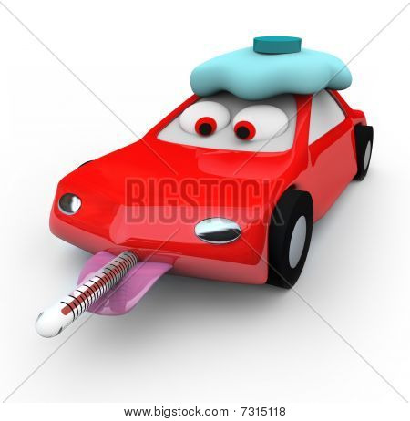 A red car is broken down and needing help with a thermometer in its mouth and running a fever stock photo