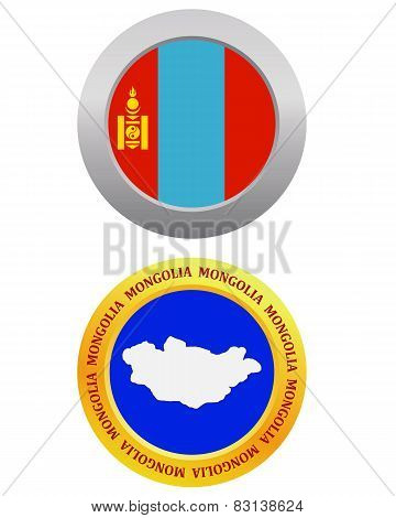 button as a symbol MONGOLIA flag and map on a white background stock photo
