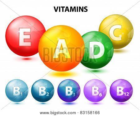 button with vitamins. Set. Ascorbic acid (vitamin C) Retinol (vitamin A) Cholecalciferol (vitamin D3) Tocopherols (vitamin E) and vitamins B complex stock photo