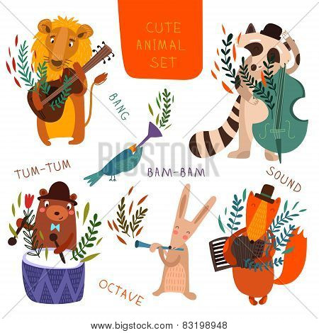 Cute Animal Set.cartoon Animals Playing On Various Musical Instruments.lion, Bear, Raccoon, Fox, Bir