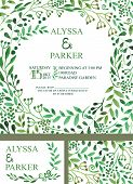 Wedding welcome with green watercolor informal breakfasts ,style