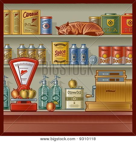 Retro store with scales, cash register, various foods and sleeping red cat. Vector illustration in woodcut style with clipping mask stock photo