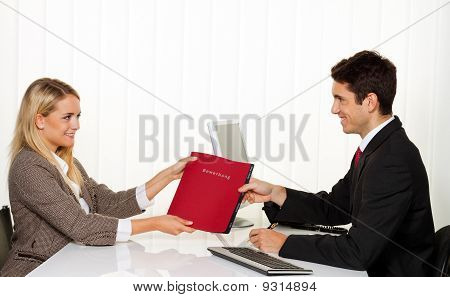 Application and performance. Interview with hiring manager in the office stock photo