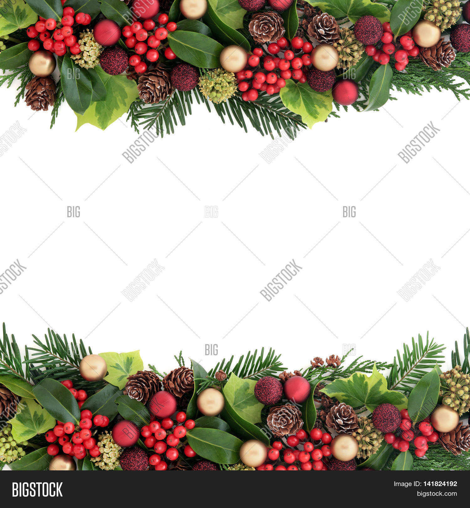 💥 images of Christmas background border with red and gold bauble ...