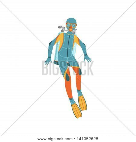 Man Diving In Full Suit With Hood, Rebreather And Twin Bottles Bright Color Cartoon Simple Style Flat Vector Illustration Isolated On White Background stock photo
