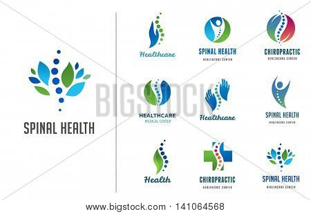 Chiropractic, massage, back pain and osteopathy icons stock photo