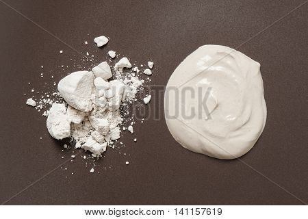 white clay filler or soft-prepared chalk or clay rich in alumina stock photo
