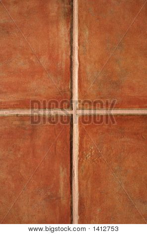 Closeup of terracotta color ceramic tiles pattern. stock photo