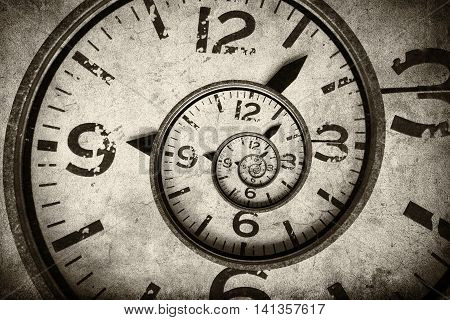 Twisted clock face close up. infinite time concept stock photo