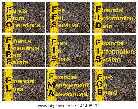 Photo collage of Business Acronyms written over road marking yellow paint line. FFO FFS FID FIRE FIS FIS FL FMA FOB stock photo