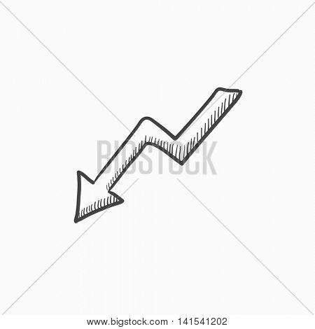 Arrow downward vector sketch icon isolated on background. Hand drawn Arrow downward icon. Arrow downward sketch icon for infographic, website or app. stock photo