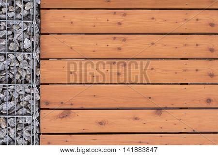 Closeup blinds wood stone wall - Copy Space stock photo
