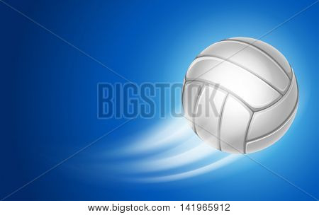 Horizontal Card for Volleyball Club with Flying Volleyball Ball on blue Background. Realistic Editab
