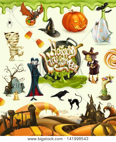 Halloween 3d vector icons. Pumpkin, ghost, spider, witch, vampire, zombie, grave, candy corn. Set of