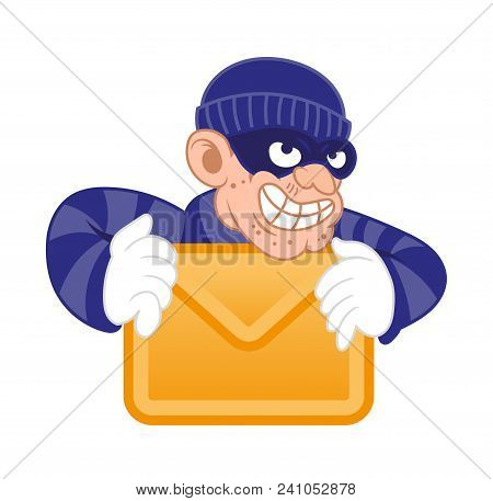 Cartoon dangerous criminal thief hacker virus dressed in dark mask stolen computer or mobile e-mail folder with personal data. Internet hacking fraud. Modern vector character illustration flat design stock photo