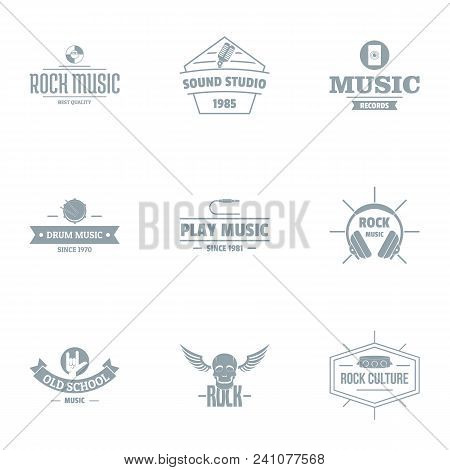 Music skill logo set. Simple set of 9 music skill vector logo for web isolated on white background stock photo