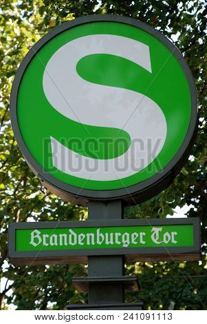 Traffic sign in Berlin, Germany: The Berlin S-Bahn is a rapid transit railway system in and around Berlin, the capital city of Germany stock photo