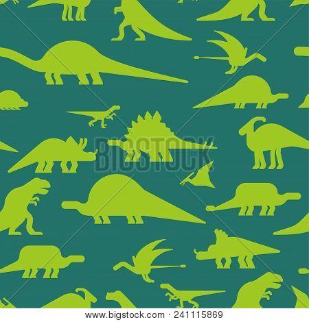Dinosaurs seamless pattern. Dino texture. Prehistoric monster lizard background. Ancient animal cartoon style. Childrens cloth ornament. Vector illustration stock photo