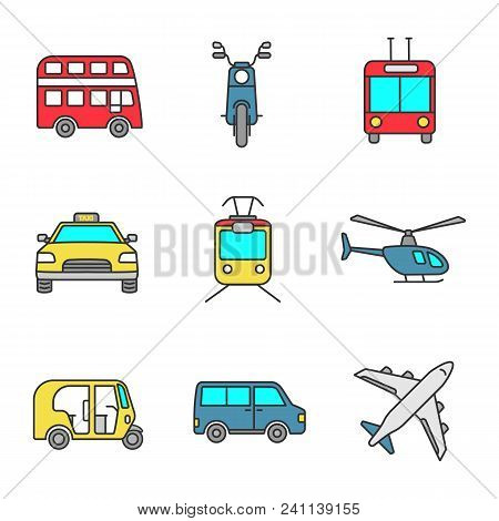 Public transport color icons set. Modes of transport. Double decker bus, scooter, trolleybus, taxi, tram, helicopter, auto rickshaw, minivan, airplane. Isolated vector illustrations stock photo