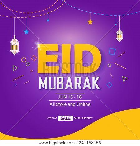 Eid Mubarak eid sale banner cover concept template design stock photo