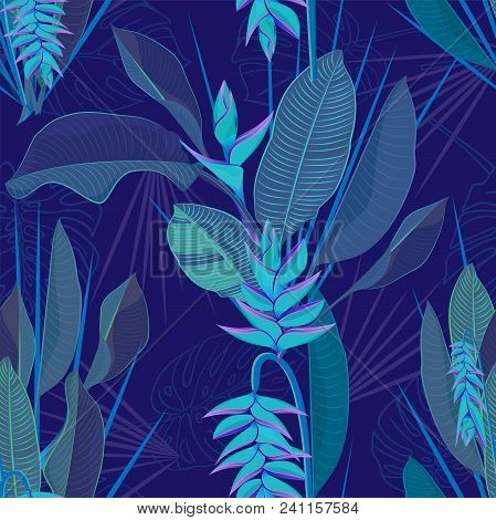 Branch tropical heliconia flower leaves seamless background. Watercolor realistic drawing in flat blue color style. isolated on white background. Vector illustration stock photo