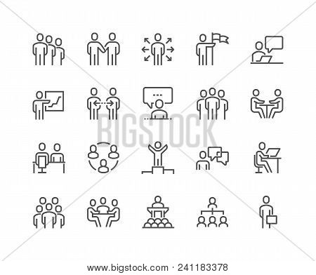 Simple Set Of Business People Related Vector Line Icons. Contains Such Icons As One-on-one Meeting,