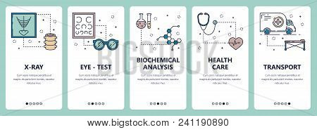 Vector set of vertical banners with X-ray, Eye-test, Biochemical analysis, Health care, Transport website and mobile app templates. Modern thin line flat style design. stock photo