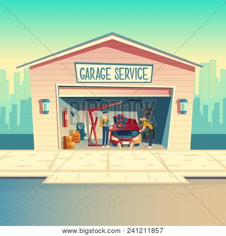 Vector cartoon workshop with mechanic crew installing engine. Repairing car, fixing vehicle in garage. Storeroom with tools, parts and details. Automobile service near with the road, urban business stock photo