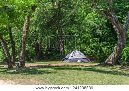 Tent Camping In Beautiful Outdoor Setting With Trees And Sunshine. Fun And Relaxation Of Spring Summ