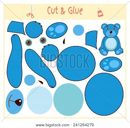 Education paper game for the development of preschool children. Cut parts of the image and glue on the paper. Vector illustration. Use scissors and glue to create the applique. Teddy bear. stock photo