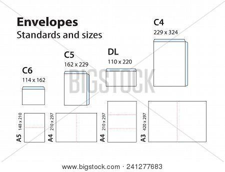 International standard envelopes for paper or documents C6, C5, DL, C4. Templates of bending brochures, booklets, leaflets of A format for envelopes. stock photo