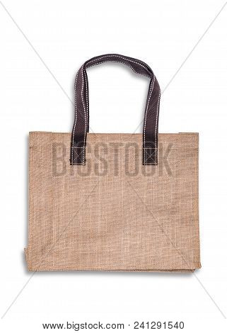 Tote bag with brown handle reusable grocery shopping mock up isolated on white background (clipping path) stock photo