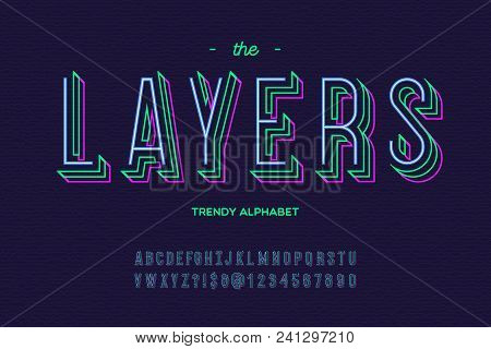Layers font. Alphabet modern typography sans serif colorful line style for party poster, printing on fabric, t shirt, promotion, decoration, stamp, label, special offer. Vector Illustration 10 eps stock photo