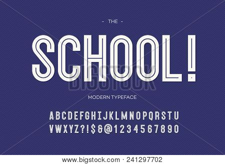 School modern font. Alphabet trendy typography bold style white color for party poster, printing on fabric, t shirt, promotion, decoration, stamp, label, special offer. Cool typeface. 10 eps stock photo
