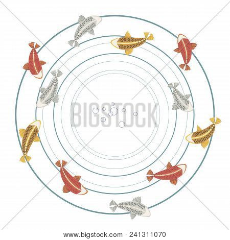 fish carp Koi with fins colorful bright red silver gold yellow pattern wreaths circles fish Sea double isolated on white background illustration vector illustration stock photo