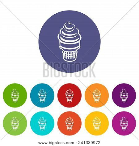 Ice cream in waffle cup icon. Outline illustration of ice cream in waffle cup vector icon for web stock photo