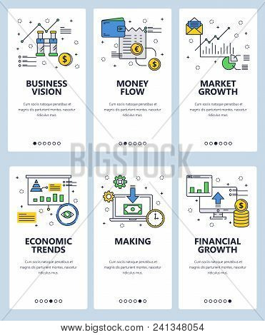 Vector set of mobile app onboarding screens. Business vision, Money flow, Market growth, Economic trends, Making, Financial growth web templates and banners. Thin line art style design icons. stock photo