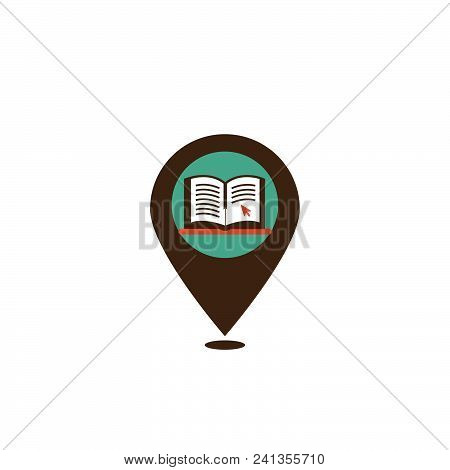 Colored map pointer with symbol of book education. For location map. Mark icon. Sign for gps navigation. Index location on map. travel Pointer location. Vector isolated ilustration. stock photo
