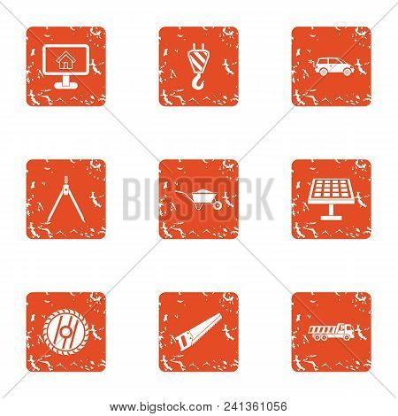 Registration icons set. Grunge set of 9 registration vector icons for web isolated on white background stock photo