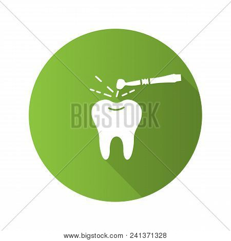Tooth drilling process flat design long shadow glyph icon. Dentistry. Dental handpiece. Vector silhouette illustration stock photo