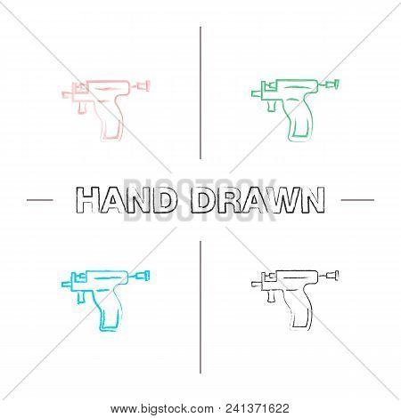 Piercing gun hand drawn icons set. Ear piercing instrument color brush stroke. Isolated vector sketchy illustrations stock photo