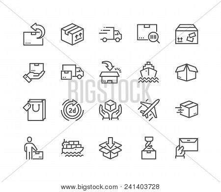 Simple Set Of Delivery Related Vector Line Icons. Contains Such Icons As Priority Shipping, Express