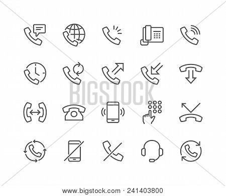 Simple Set Of Phone Related Vector Line Icons. Contains Such Icons As Global Calls, Online Support,