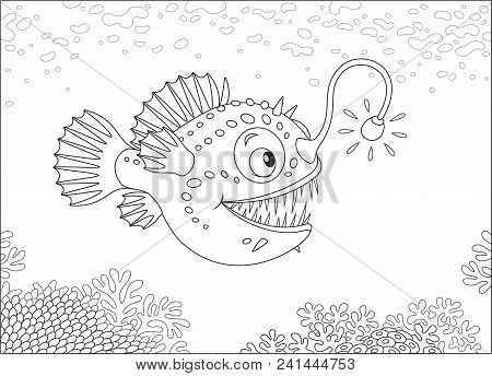 Anglerfish hunting deep in a sea, black and white vector illustration in a cartoon style for a coloring book stock photo