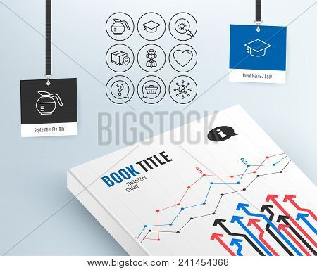 Set of Graduation cap, Parcel tracking and Shopping cart icons. Shipping support, Energy and Heart signs. Coffeepot, Question mark and Networking symbols. Vector stock photo