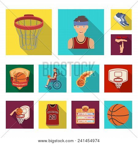 Basketball and attributes flat icons in set collection for design.Basketball player and equipment vector symbol stock  illustration. stock photo