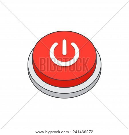 Power icon ,shutdown, red button, on a white background. Flat vector illustration stock photo