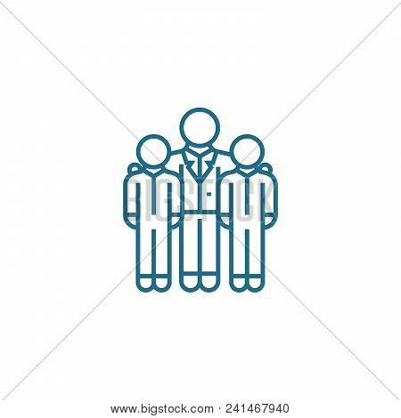 Encouraging employees line icon, vector illustration. Encouraging employees linear concept sign. stock photo
